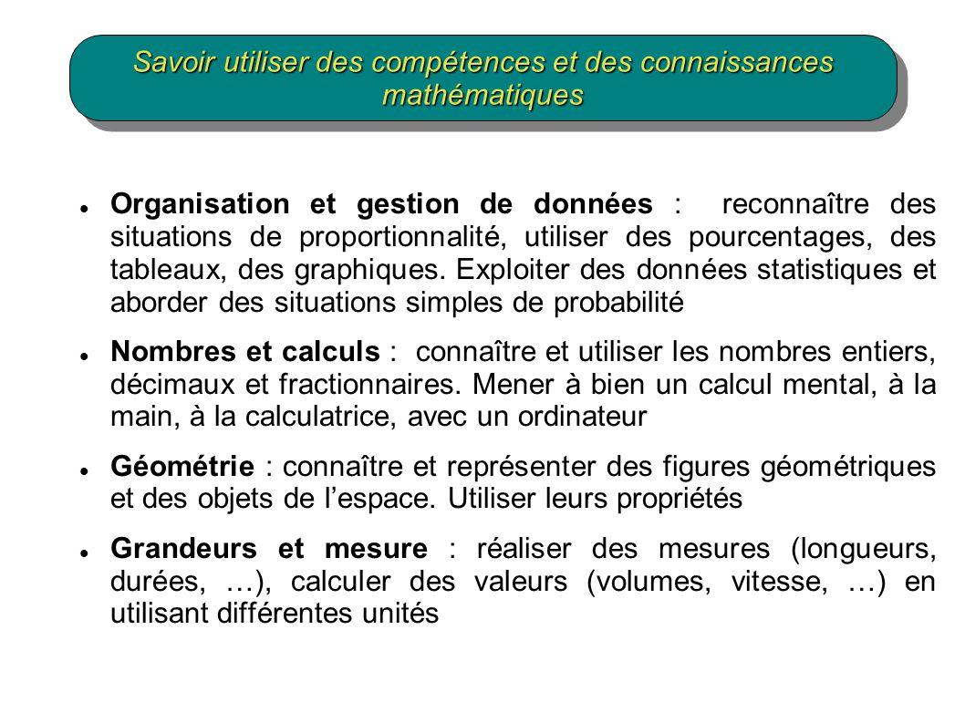Organisation et gestion de données : reconnaître des situations de proportionnalité, utiliser des pourcentages, des tableaux, des graphiques.