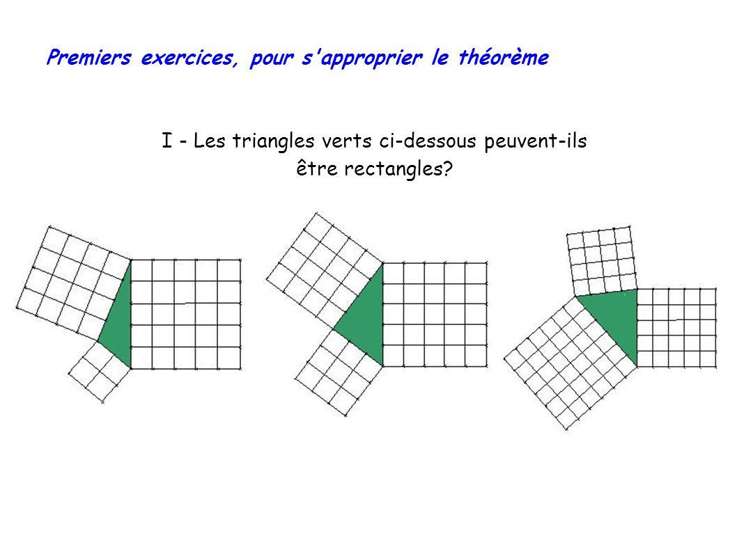 Premiers exercices, pour s approprier le théorème I - Les triangles verts ci-dessous peuvent-ils être rectangles?