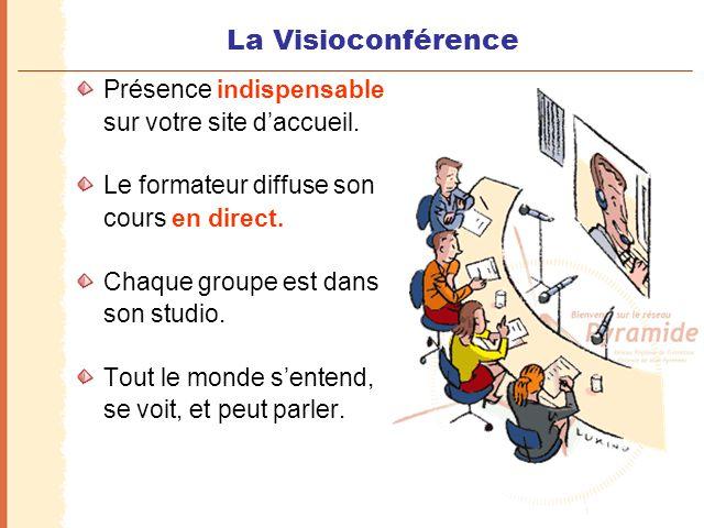La Visioconférence Présence indispensable sur votre site d'accueil. Le formateur diffuse son cours en direct. Chaque groupe est dans son studio. Tout