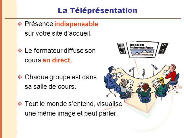 La Téléprésentation Présence indispensable sur votre site d'accueil. Le formateur diffuse son cours en direct. Chaque groupe est dans sa salle de cour