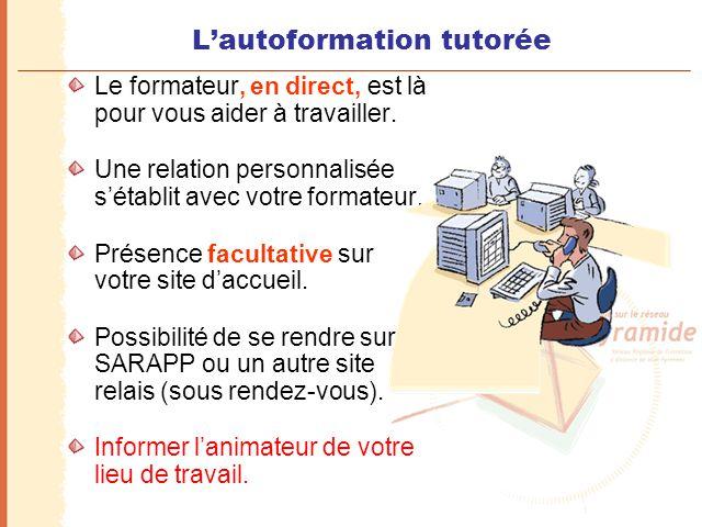 L'autoformation tutorée Le formateur, en direct, est là pour vous aider à travailler. Une relation personnalisée s'établit avec votre formateur. Prése