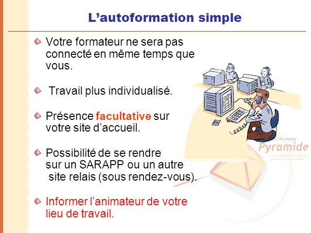 L'autoformation simple Votre formateur ne sera pas connecté en même temps que vous. Travail plus individualisé. Présence facultative sur votre site d'