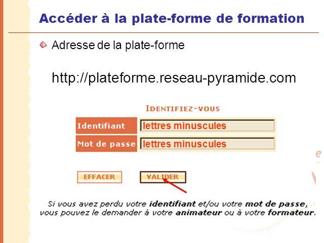 Accéder à la plate-forme de formation Adresse de la plate-forme http://plateforme.reseau-pyramide.com lettres minuscules