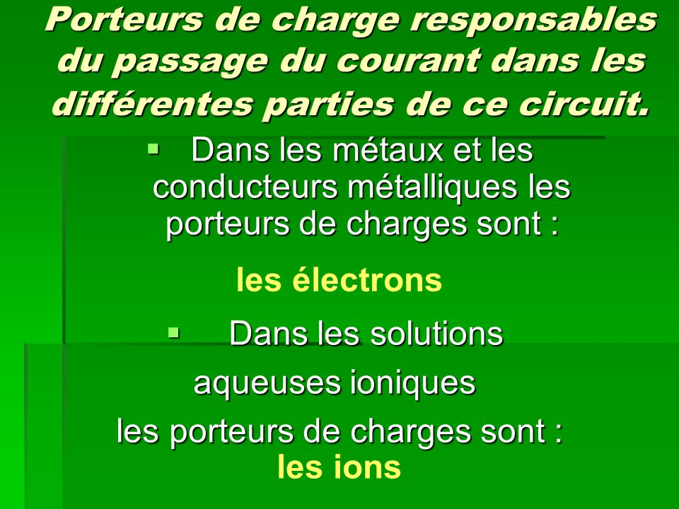Porteurs de charge responsables du passage du courant dans les différentes parties de ce circuit.  Dans les métaux et les conducteurs métalliques les