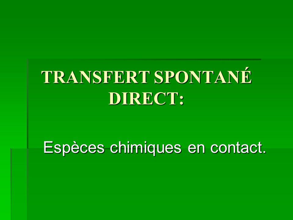 TRANSFERT SPONTANÉ DIRECT: Espèces chimiques en contact.