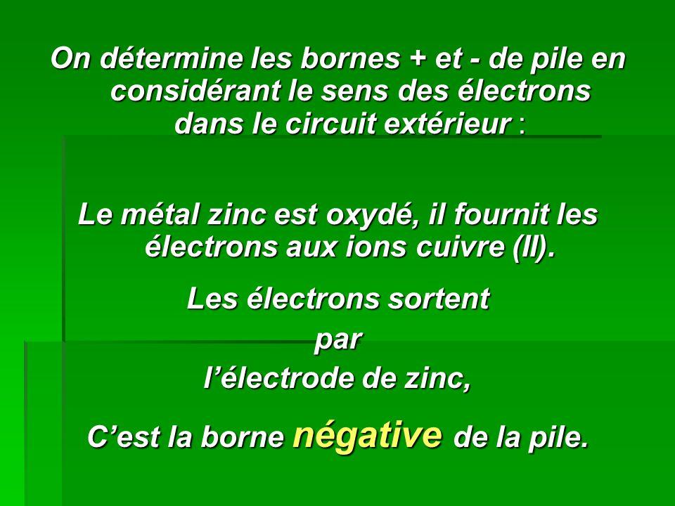 On détermine les bornes + et - de pile en considérant le sens des électrons dans le circuit extérieur : Le métal zinc est oxydé, il fournit les électr