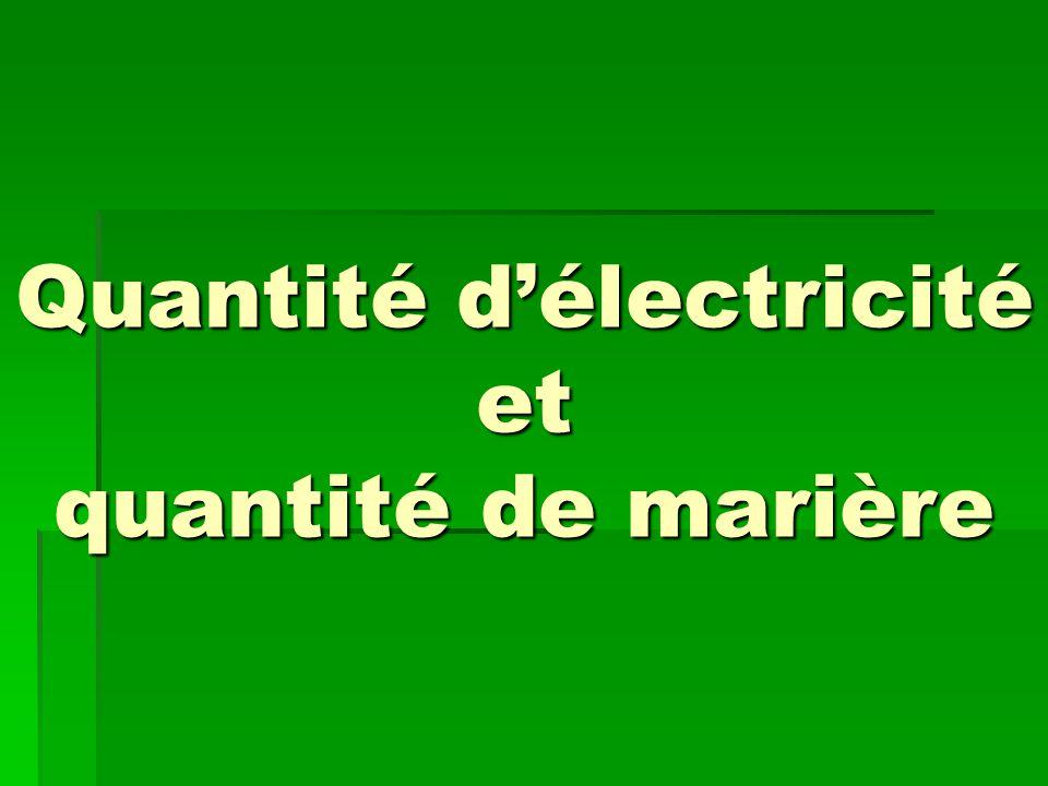 Quantité d'électricité et quantité de marière