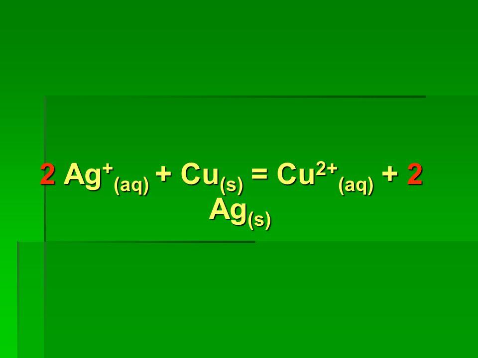 2 Ag + (aq) + Cu (s) = Cu 2+ (aq) + 2 Ag (s)