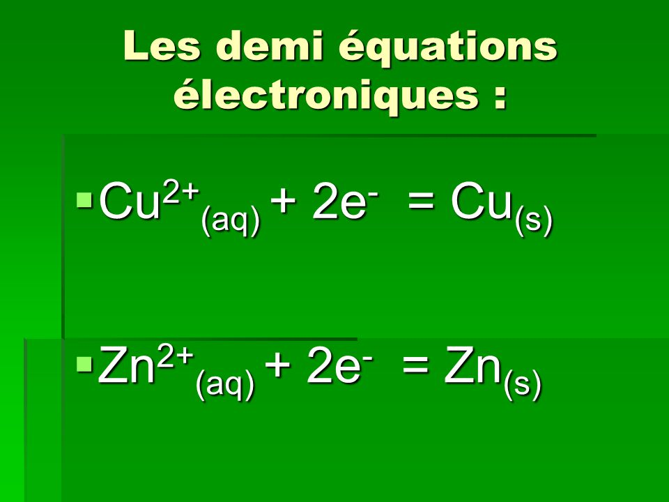 Définitions La quantité d électricité Q mise en jeu au cours du fonctionnement d un générateur électrochimique est égale à la valeur absolue de la charge totale des électrons échangés.