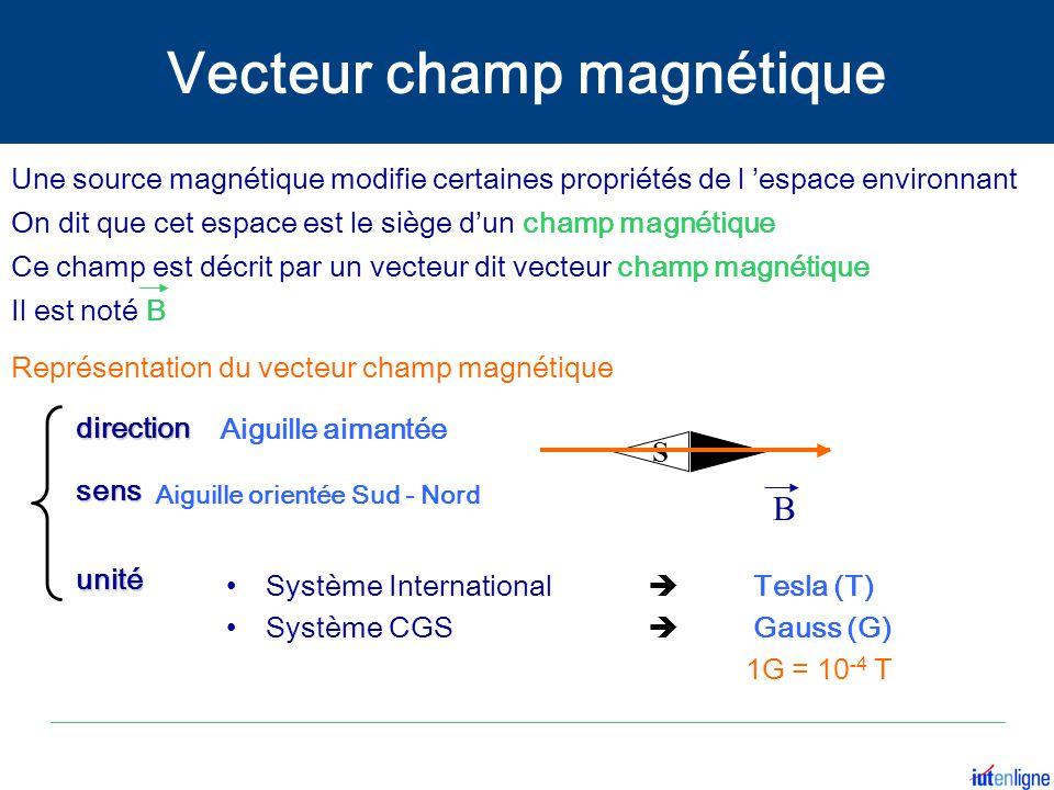 Représentation du vecteur champ magnétique Une source magnétique modifie certaines propriétés de l 'espace environnant On dit que cet espace est le si