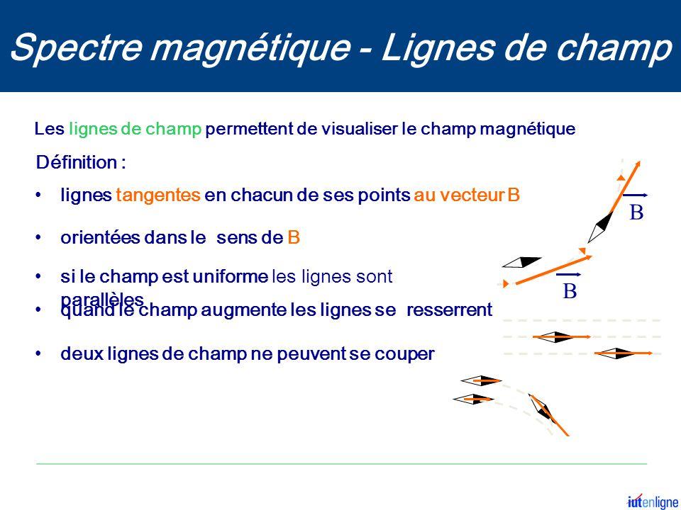 Les lignes de champ permettent de visualiser le champ magnétique B B orientées dans le sens de B si le champ est uniforme les lignes sont parallèles q