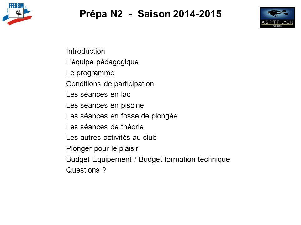 Prépa N2 - Saison 2014-2015 Introduction L'équipe pédagogique Le programme Conditions de participation Les séances en lac Les séances en piscine Les s