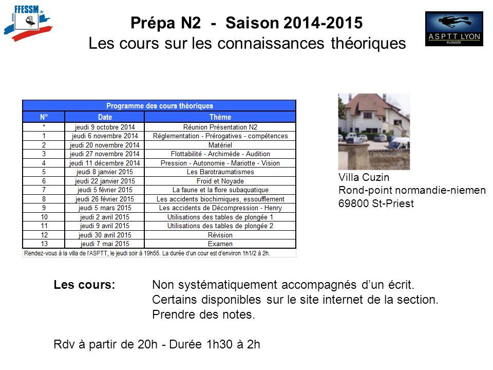 Prépa N2 - Saison 2014-2015 Les cours sur les connaissances théoriques Villa Cuzin Rond-point normandie-niemen 69800 St-Priest Les cours: Non systémat