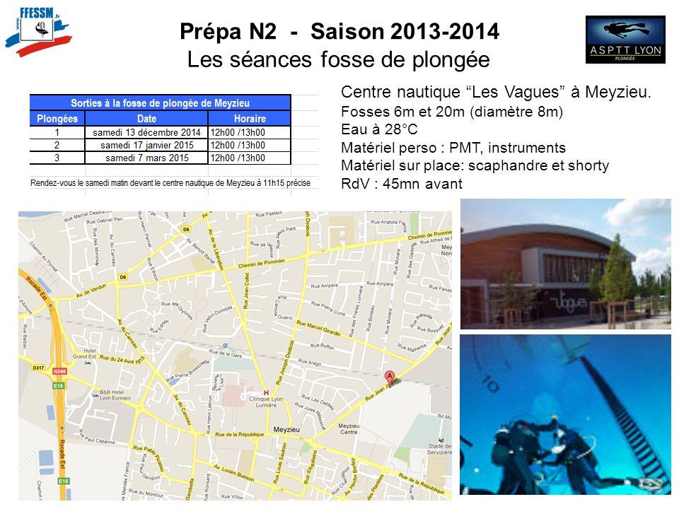 """Prépa N2 - Saison 2013-2014 Les séances fosse de plongée Centre nautique """"Les Vagues"""" à Meyzieu. Fosses 6m et 20m (diamètre 8m) Eau à 28°C Matériel pe"""