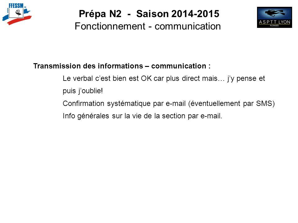 Prépa N2 - Saison 2014-2015 Fonctionnement - communication Transmission des informations – communication : Le verbal c'est bien est OK car plus direct