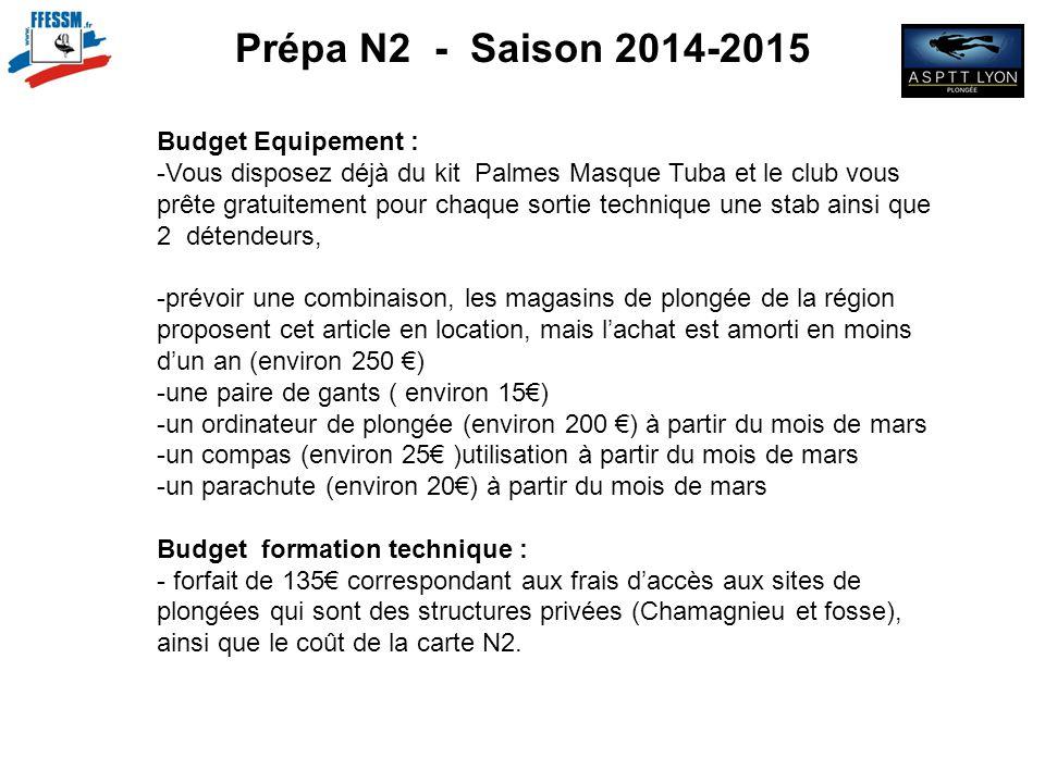 Prépa N2 - Saison 2014-2015 Budget Equipement : -Vous disposez déjà du kit Palmes Masque Tuba et le club vous prête gratuitement pour chaque sortie te