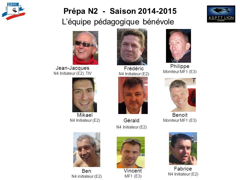 Prépa N2 - Saison 2014-2015 L'équipe pédagogique bénévole Fabrice N4 Initiateur (E2) Philippe Moniteur MF1 (E3) Frédéric N4 Initiateur (E2) Jean-Jacqu
