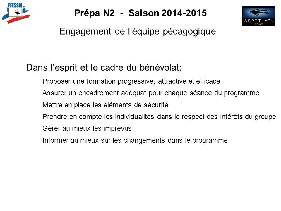 Prépa N2 - Saison 2014-2015 Engagement de l'équipe pédagogique Dans l'esprit et le cadre du bénévolat: Proposer une formation progressive, attractive
