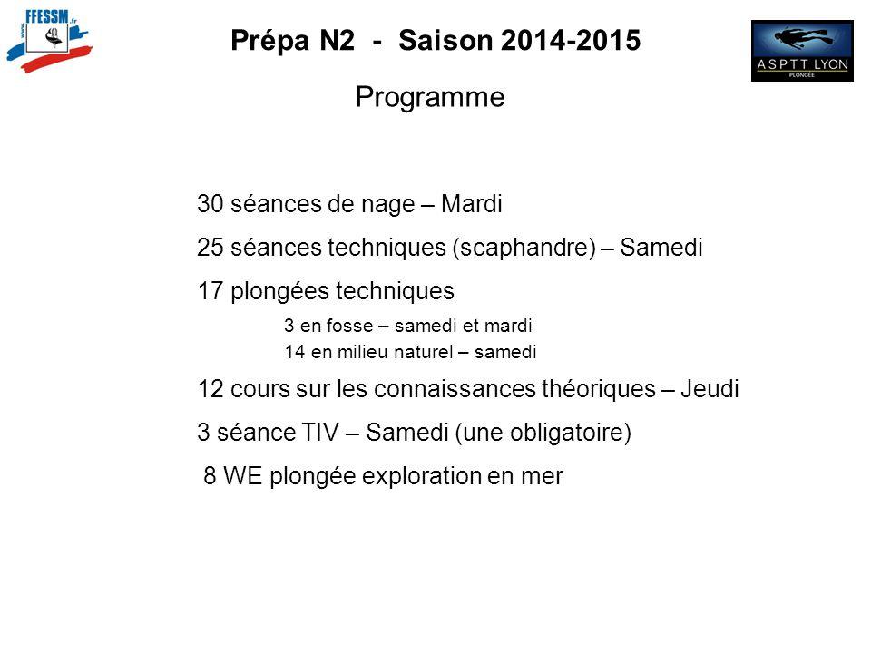Prépa N2 - Saison 2014-2015 Programme 30 séances de nage – Mardi 25 séances techniques (scaphandre) – Samedi 17 plongées techniques 3 en fosse – samed