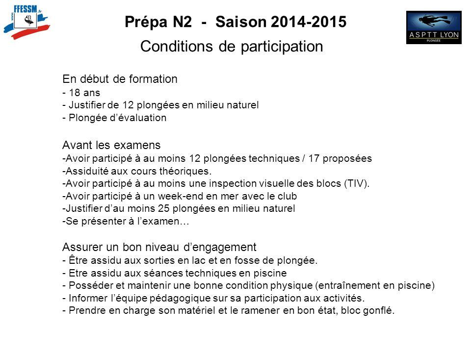 Prépa N2 - Saison 2014-2015 Conditions de participation En début de formation - 18 ans - Justifier de 12 plongées en milieu naturel - Plongée d'évalua