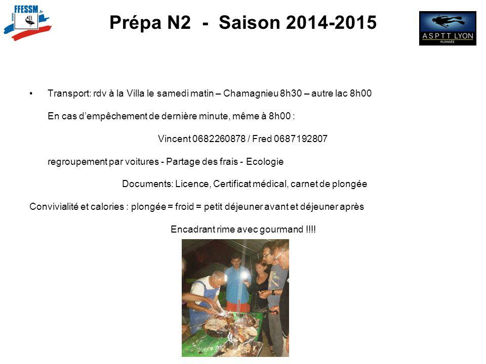 Prépa N2 - Saison 2014-2015 Transport: rdv à la Villa le samedi matin – Chamagnieu 8h30 – autre lac 8h00 En cas d'empêchement de dernière minute, même