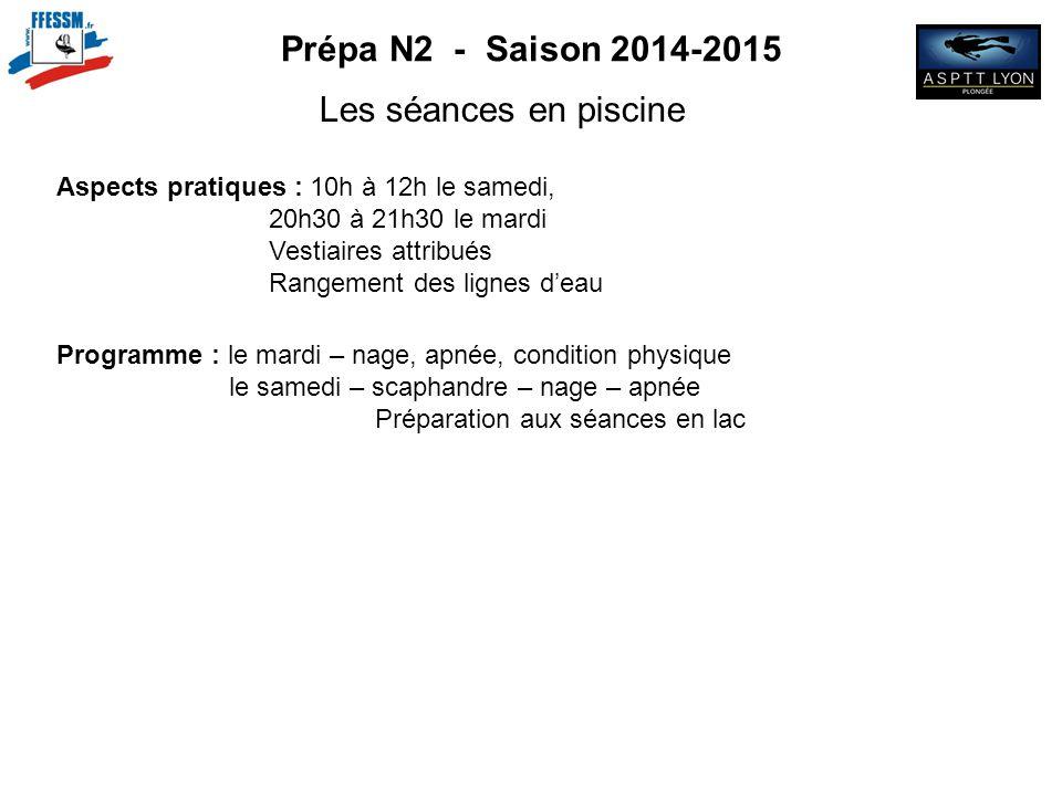 Prépa N2 - Saison 2014-2015 Les séances en piscine Aspects pratiques : 10h à 12h le samedi, 20h30 à 21h30 le mardi Vestiaires attribués Rangement des