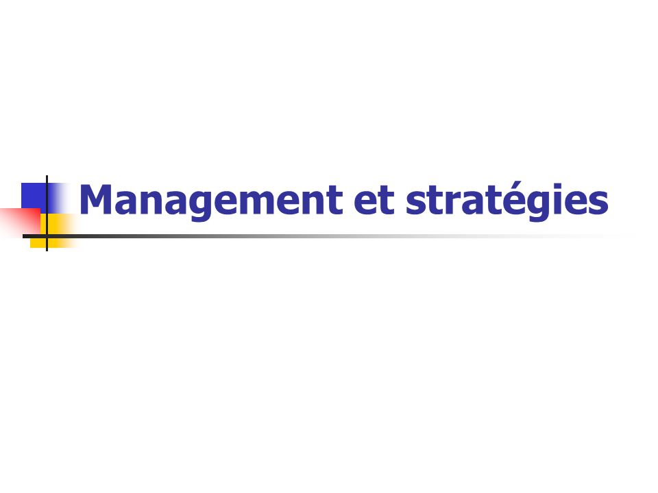 22 3.3 Le management stratégique de Michael E.