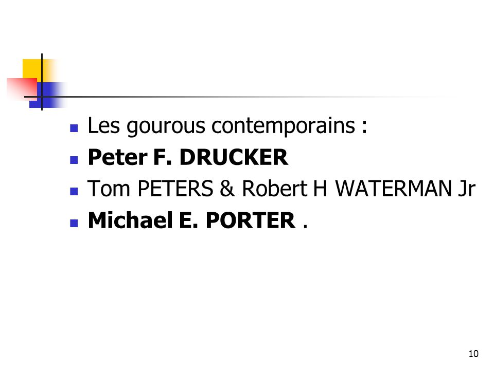 10 Les gourous contemporains : Peter F. DRUCKER Tom PETERS & Robert H WATERMAN Jr Michael E. PORTER.