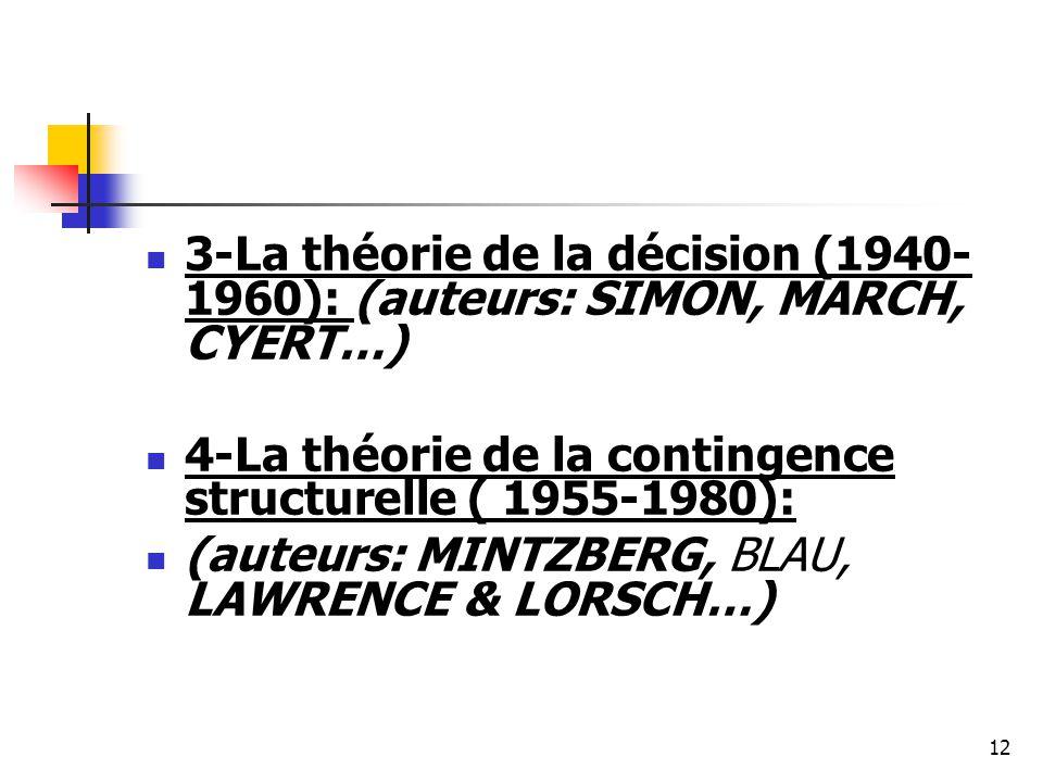 3-La théorie de la décision (1940- 1960): (auteurs: SIMON, MARCH, CYERT…) 4-La théorie de la contingence structurelle ( 1955-1980): (auteurs: MINTZBER