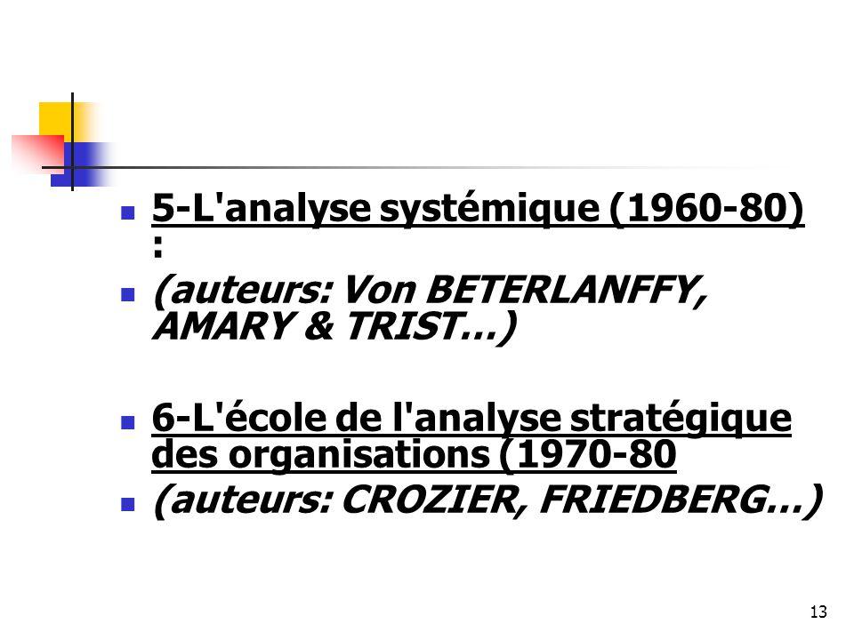 13 5-L'analyse systémique (1960-80) : (auteurs: Von BETERLANFFY, AMARY & TRIST…) 6-L'école de l'analyse stratégique des organisations (1970-80 (auteur