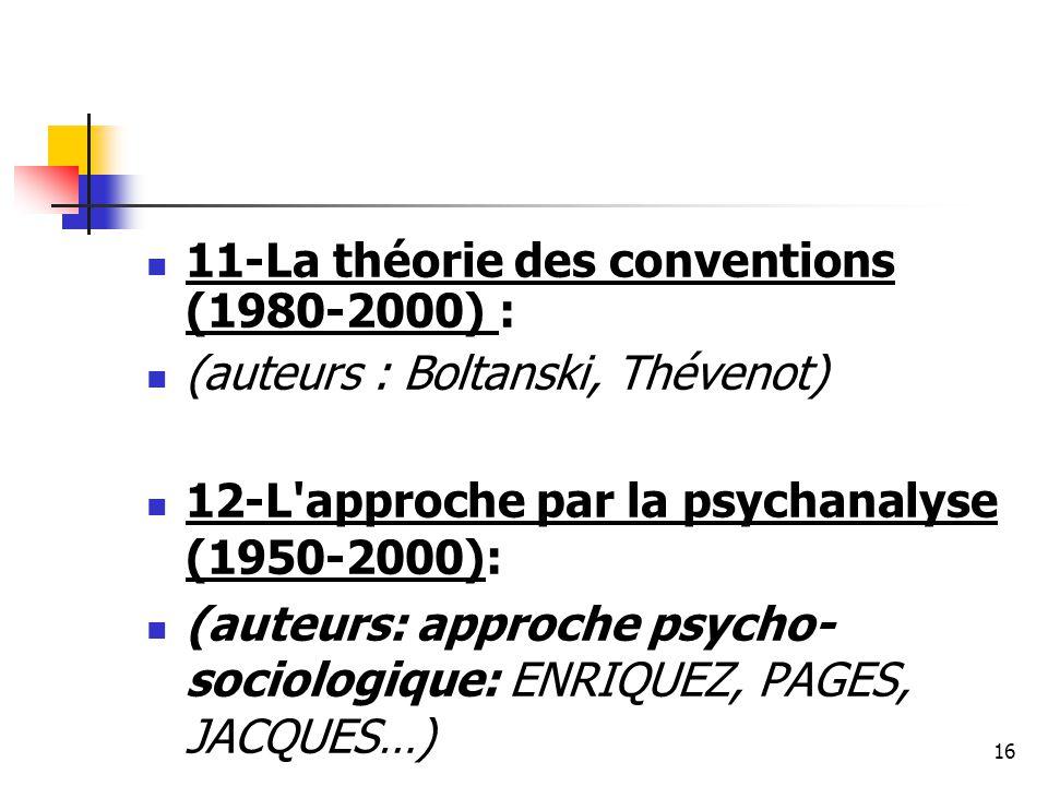 11-La théorie des conventions (1980-2000) : (auteurs : Boltanski, Thévenot) 12-L'approche par la psychanalyse (1950-2000): (auteurs: approche psycho-