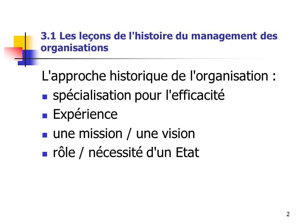 2 3.1 Les leçons de l'histoire du management des organisations L'approche historique de l'organisation : spécialisation pour l'efficacité Expérience u