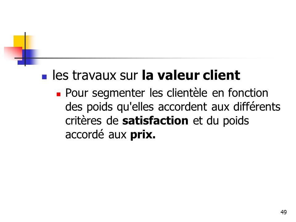 49 les travaux sur la valeur client Pour segmenter les clientèle en fonction des poids qu'elles accordent aux différents critères de satisfaction et d