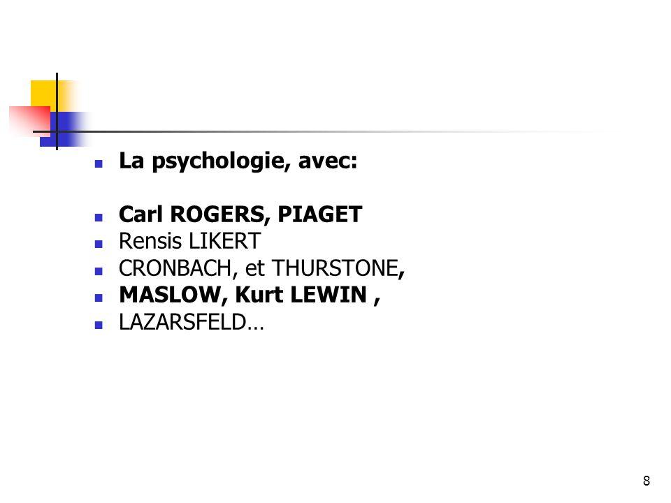 8 La psychologie, avec: Carl ROGERS, PIAGET Rensis LIKERT CRONBACH, et THURSTONE, MASLOW, Kurt LEWIN, LAZARSFELD…