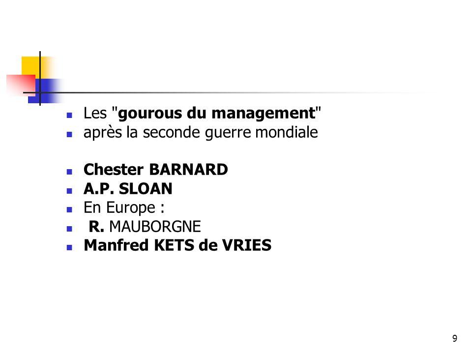 Les gourous du management après la seconde guerre mondiale Chester BARNARD A.P.