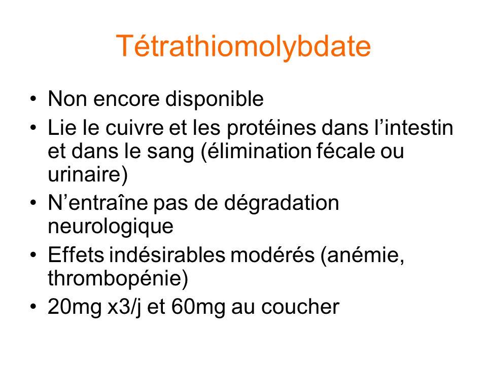Tétrathiomolybdate Non encore disponible Lie le cuivre et les protéines dans l'intestin et dans le sang (élimination fécale ou urinaire) N'entraîne pa