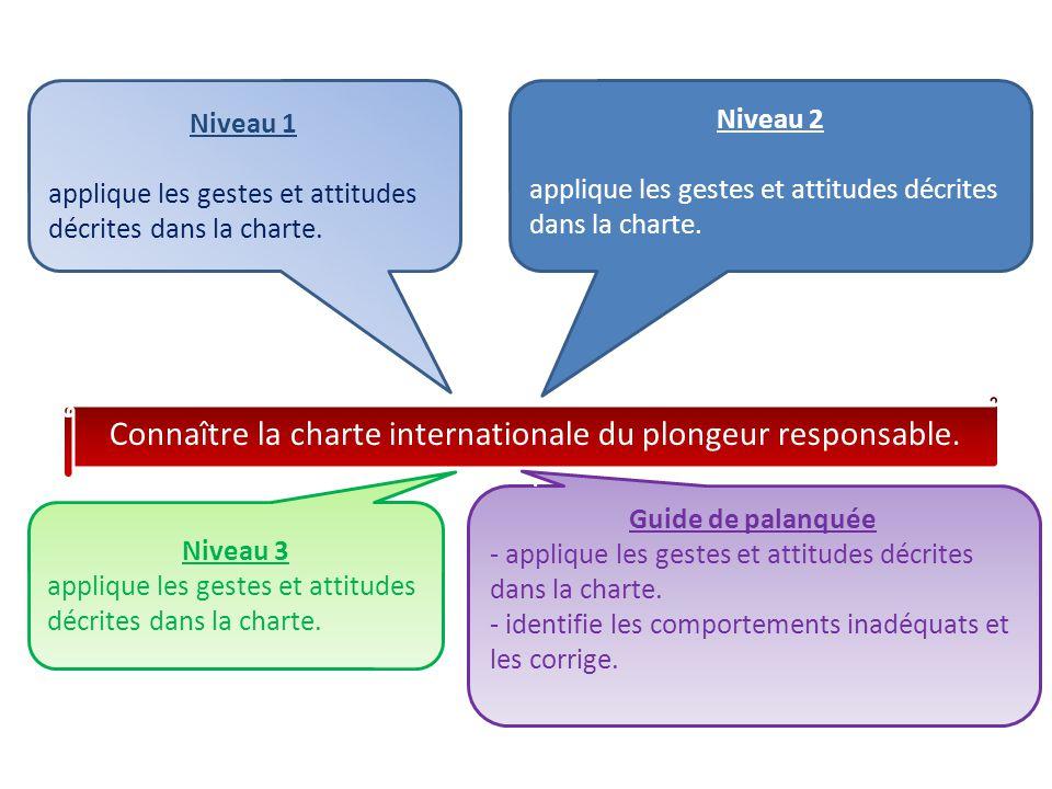 Niveau 1 applique les gestes et attitudes décrites dans la charte. Niveau 2 applique les gestes et attitudes décrites dans la charte. Niveau 3 appliqu