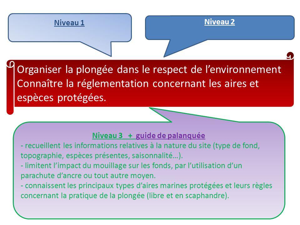 Organiser la plongée dans le respect de l'environnement Connaître la réglementation concernant les aires et espèces protégées. Niveau 1 Niveau 2 Nivea