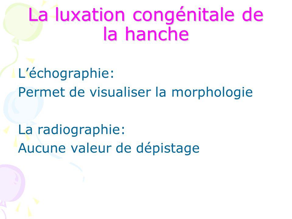 La luxation congénitale de la hanche L'échographie: Permet de visualiser la morphologie La radiographie: Aucune valeur de dépistage