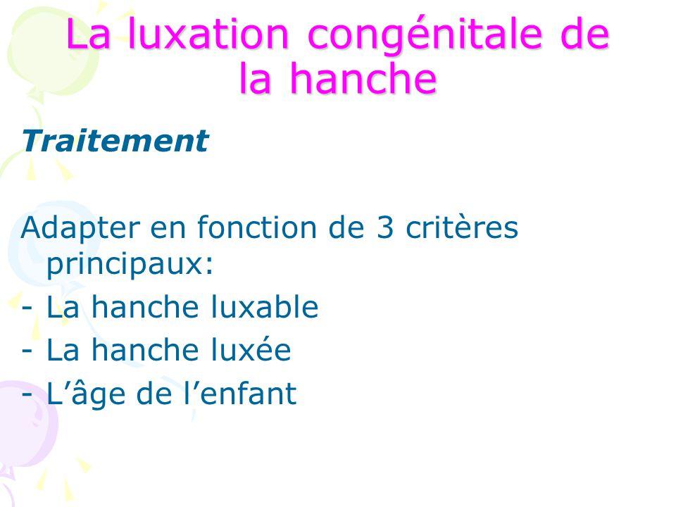 La luxation congénitale de la hanche Traitement Adapter en fonction de 3 critères principaux: -La hanche luxable -La hanche luxée -L'âge de l'enfant