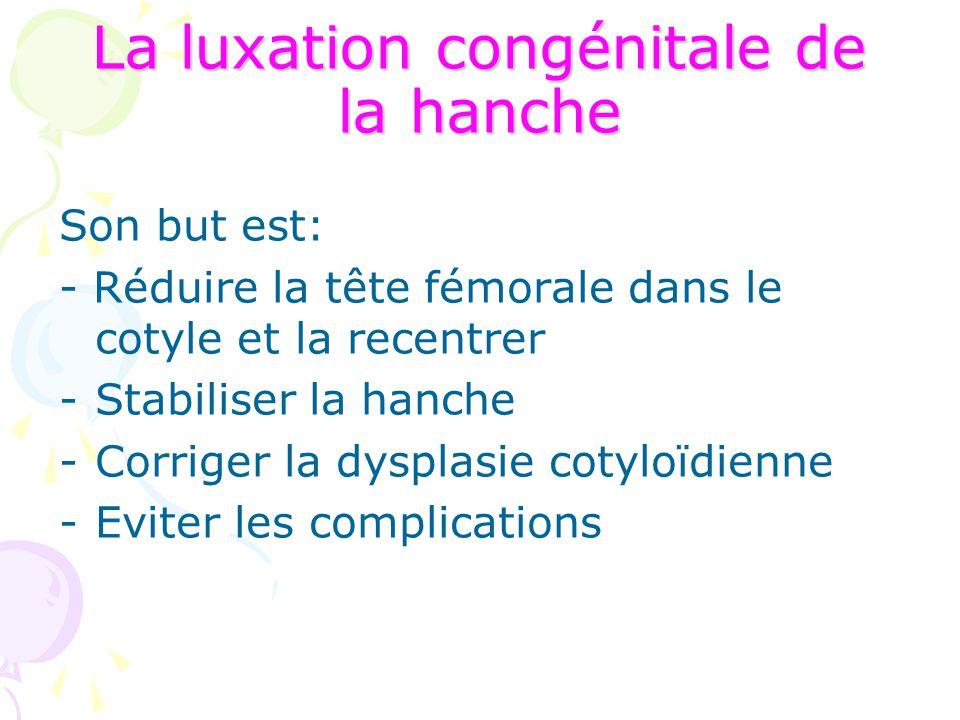 La luxation congénitale de la hanche Son but est: - Réduire la tête fémorale dans le cotyle et la recentrer -Stabiliser la hanche -Corriger la dysplas