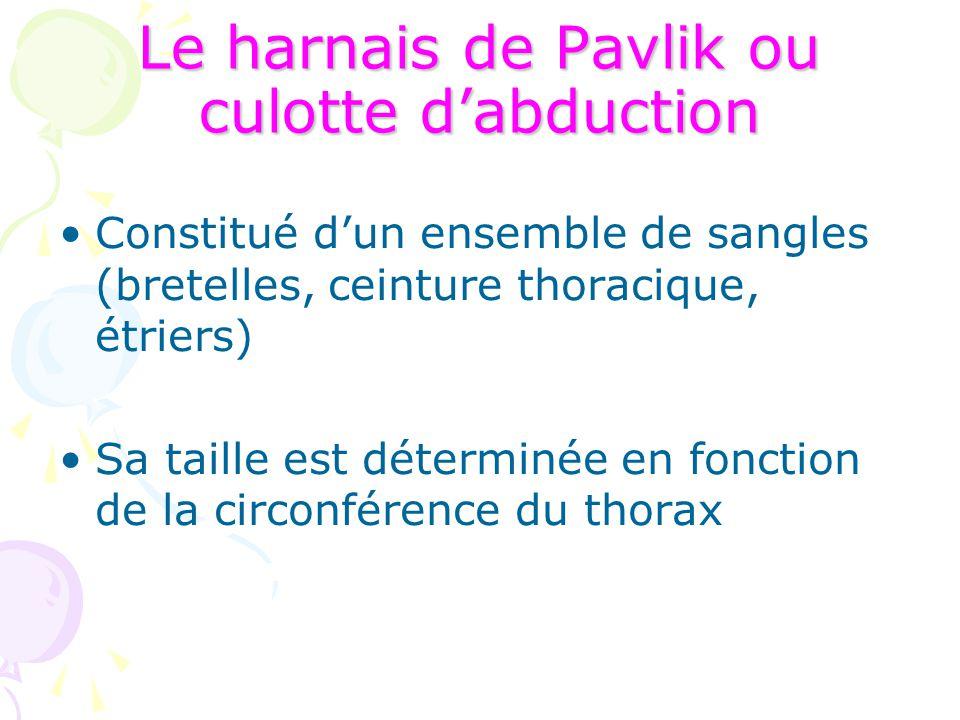 Le harnais de Pavlik ou culotte d'abduction Constitué d'un ensemble de sangles (bretelles, ceinture thoracique, étriers) Sa taille est déterminée en f