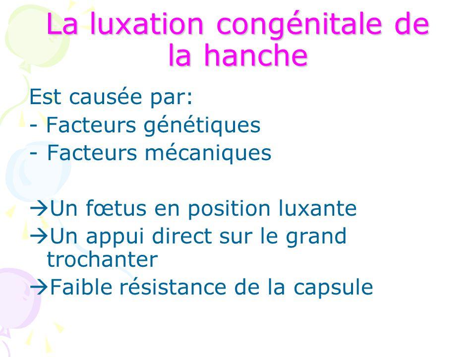 La luxation congénitale de la hanche Est causée par: - Facteurs génétiques -Facteurs mécaniques  Un fœtus en position luxante  Un appui direct sur l