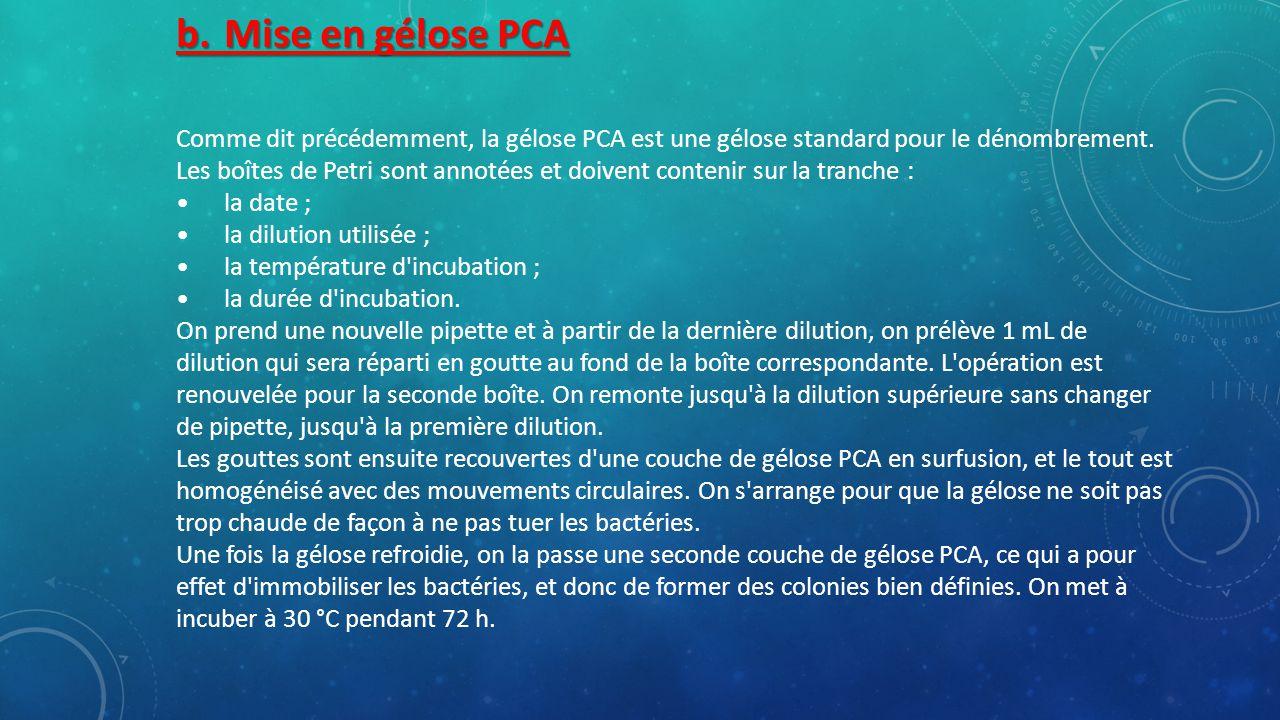 b.Mise en gélose PCA Comme dit précédemment, la gélose PCA est une gélose standard pour le dénombrement.