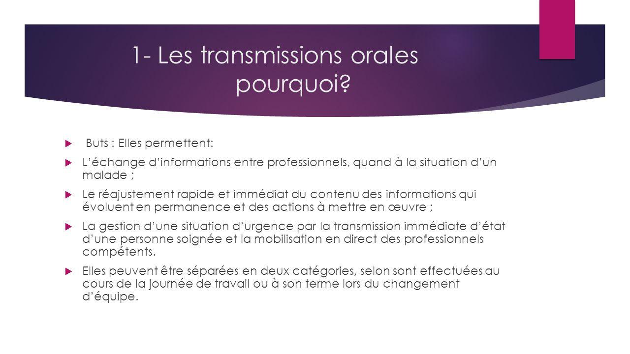 1- Les transmissions orales pourquoi.