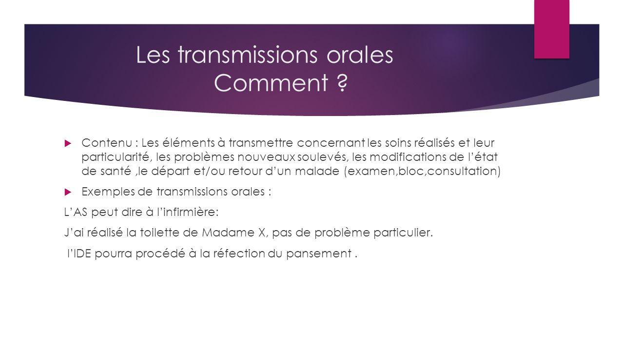 Les transmissions orales Comment .
