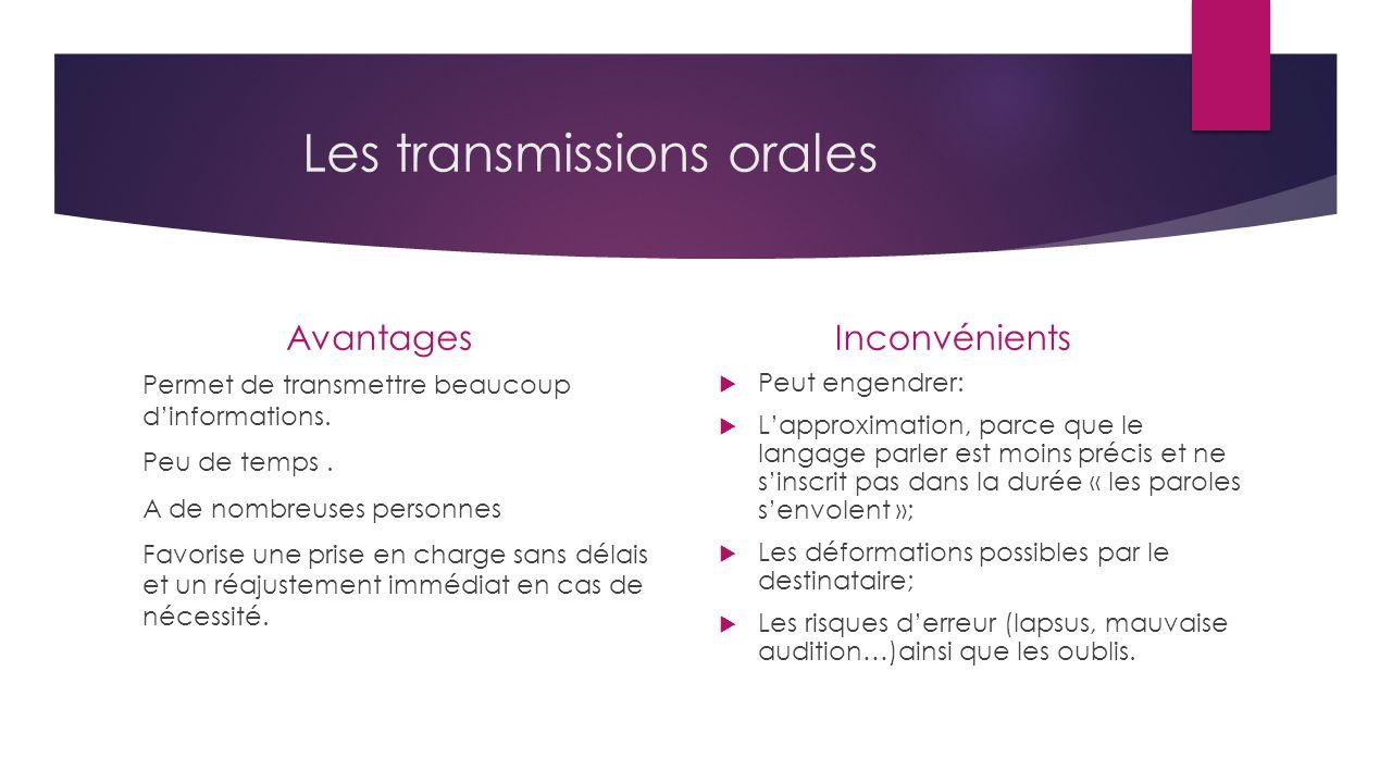 Les transmissions orales Avantages Permet de transmettre beaucoup d'informations.