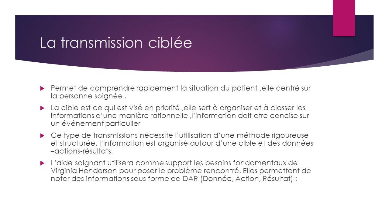 La transmission ciblée  Permet de comprendre rapidement la situation du patient,elle centré sur la personne soignée.