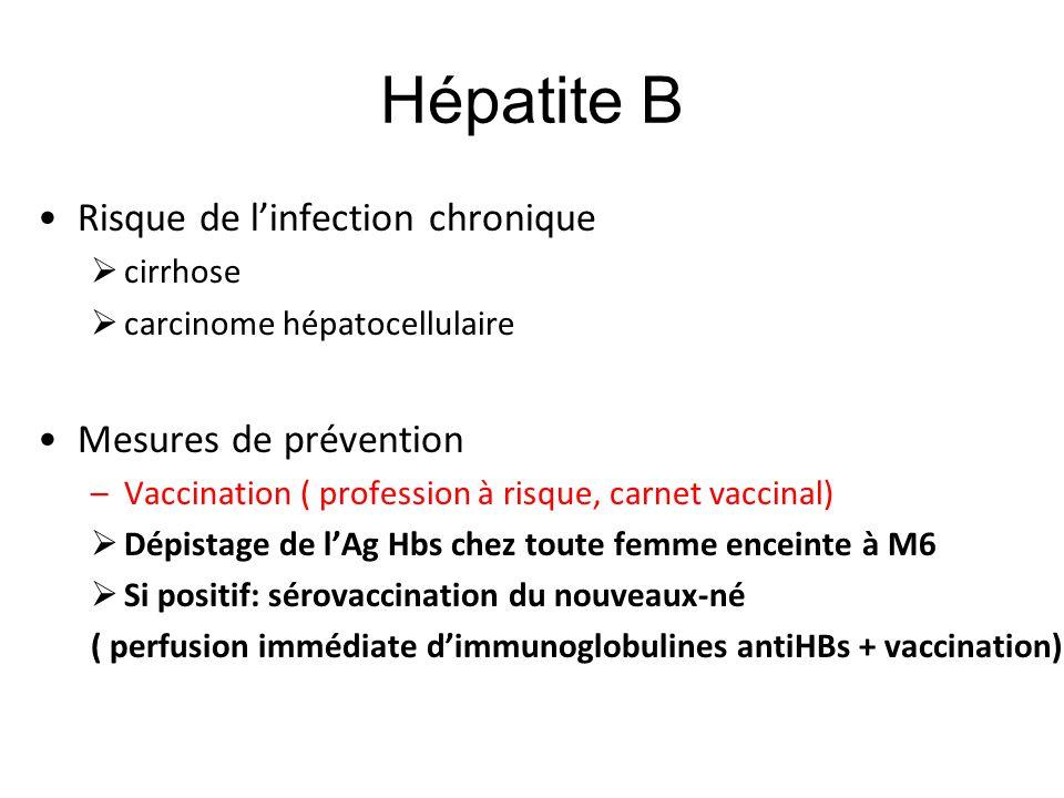 Hépatite B Risque de l'infection chronique  cirrhose  carcinome hépatocellulaire Mesures de prévention –Vaccination ( profession à risque, carnet va