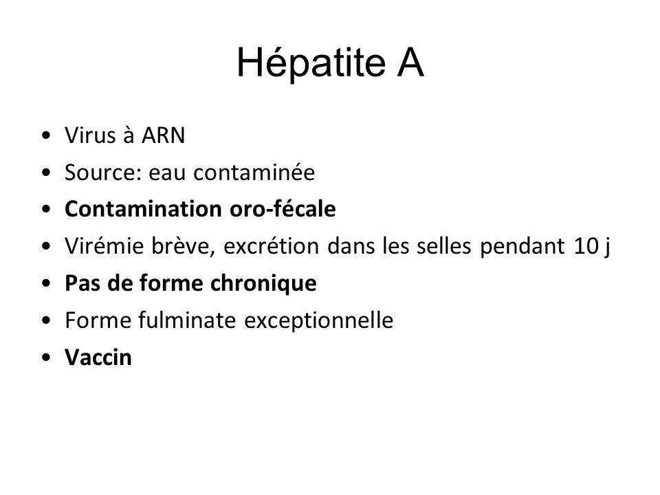 Hépatite A Virus à ARN Source: eau contaminée Contamination oro-fécale Virémie brève, excrétion dans les selles pendant 10 j Pas de forme chronique Fo